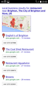 screenshot of local search result