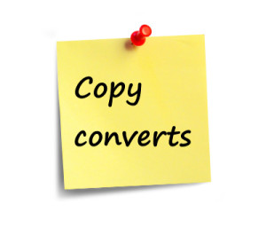 post it note reading copy converts