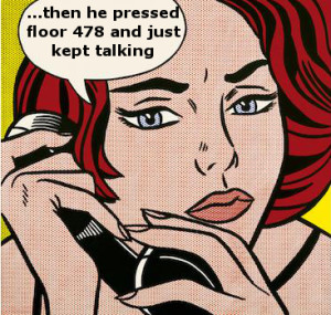 cartoon of woman on phone complaining about long elevator pitch