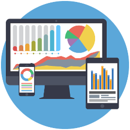 data charts on screens for infographic services