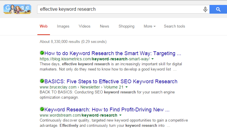 keyword research search results page