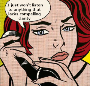 pop art image of woman on phone giving corporate brochure copywriting advice