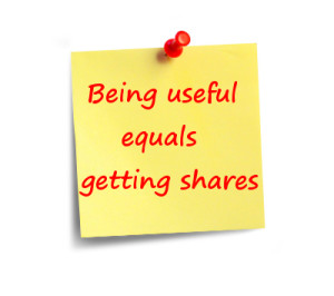 post it note with motto about infographics: being useful = getting shares