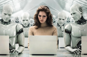 robots surround woman