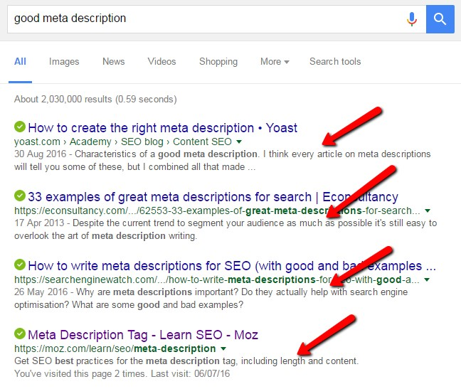 Image result for sample meta descriptions