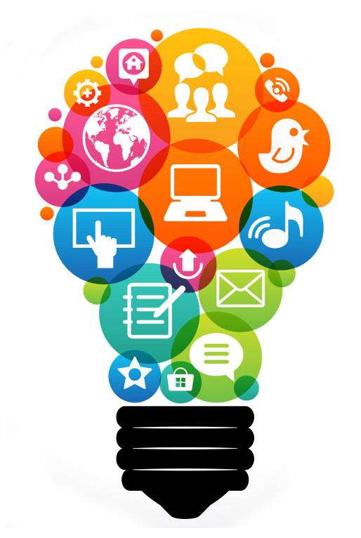 digital marketing icons in lightbulb