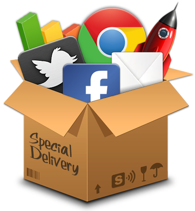 digital marketing icons in a box