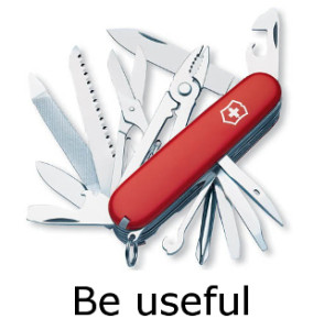"penknife to represent email motto ""be useful"""