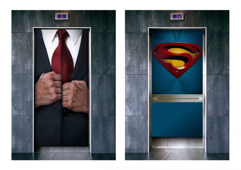superman revealed in lift