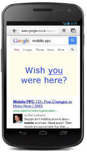 mobile phone with Google AdWords PPC adverts