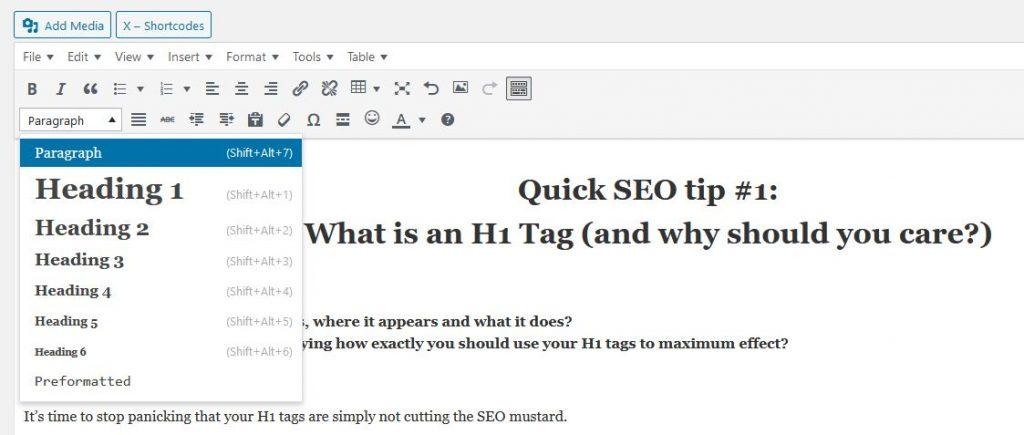 WordPress adding H1